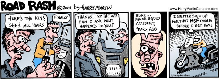 Harry Martin Cartoons Road Rash cartoon #2 Taking Ownership