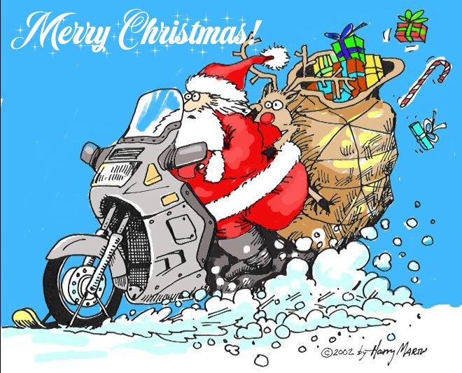 Santa riding a Kawasaki Councours C10 through the snow.