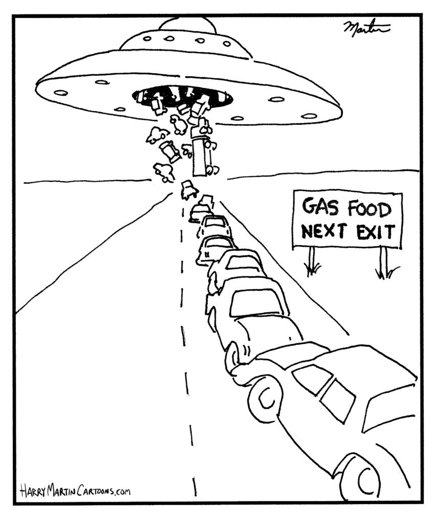 Humor Cartoon: gas food next exit